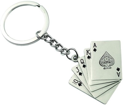 Stealodeal Stainless Steel Car and Bike Playing Card Key Chain