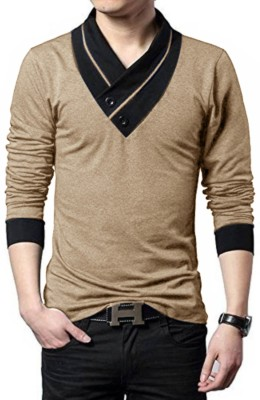 Try This Solid Men V-neck Gold T-Shirt