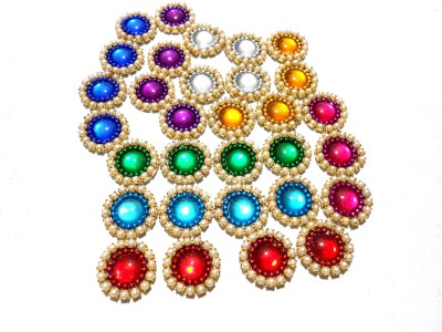 GOELX Pearl Patches Colorful Round Shape Handmade Appliques Embellishments for Decoration, Crafts Ideas, Jewelery Making, Easy to Use Pack of 50 - MULTI COLOR (15 mm)