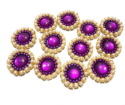 GOELX Pearl Patches Colorful Round Shape Handmade Appliques Embellishments for Decoration, Crafts Ideas, Jewelery Making, Easy to Use Pack of 50 - Purple (15 mm)