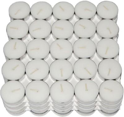 Shreeji Decoration Smokeless Tea Light Candle(150) Candle(Silver, White, Pack of 150)