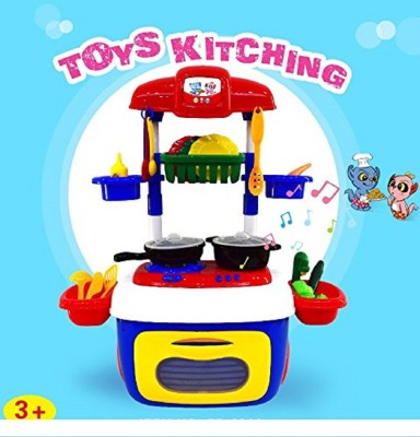 TEMSON Kids Kitchen Playset Toddler Pretend Play Kitchen Kit Cooking Sets Chef Toys Workbench for Children