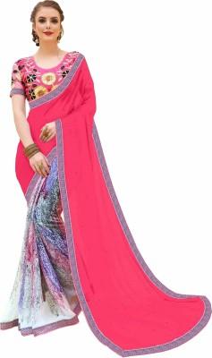 Gaurangi Creations Embellished, Printed Fashion Faux Georgette, Chiffon Saree(Pink, Cream) Flipkart