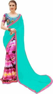 Gaurangi Creations Embellished, Printed Fashion Faux Georgette, Chiffon Saree(Light Blue, Pink) Flipkart