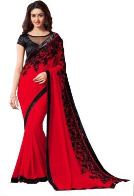 LaazreeFashion Embroidered Bollywood Georgette Saree(Red) Flipkart