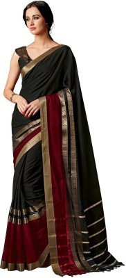 Taanshi Solid Fashion Silk Cotton Blend Saree(Multicolor)