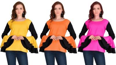 VAANYA Casual Bell Sleeve Solid Women Pink, Orange, Yellow Top