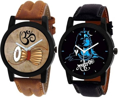SkyLona Combo Of 2 Mahadev Printed Dial With Fashionable Leather Belt With Casual & Formal Watch For Boys & Men Mahadev Watch  - For Men