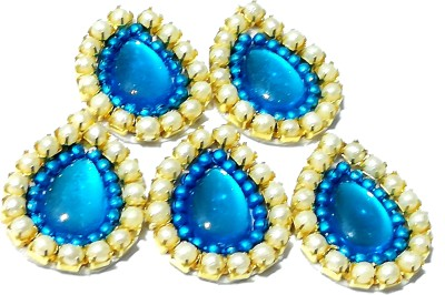GOELX Pearl Patches Colorful Drop Shape Handmade Appliques Embellishments for Decoration, Crafts Ideas, Jewelery Making, Easy to Use Pack of 50 - turquoise blue L 17mm W 14mm