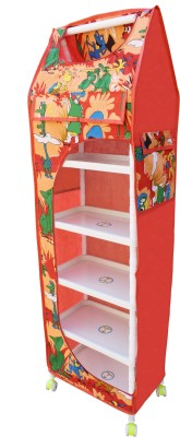 Flipzon Multipurpose 6 Shelve Foldable Almirah(Jungle)/Toy Box PVC Collapsible Wardrobe(Finish Color - Red)
