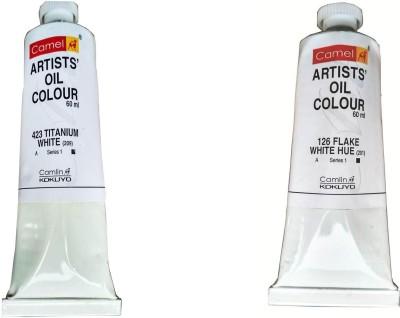 Camlin Titanium White & Flake White Artist Oil Color Series 1 in 120 ML Tube(Set of 2, Titanium White, Flake White)