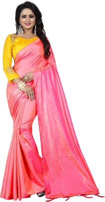 Villagius Plain Bollywood Silk Saree(Pink)