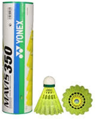 Yonex MAVIS Nylon Shuttle    Yellow Medium, 77, Pack of 6