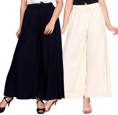 Aawari Regular Fit Women Dark Blue, White Trousers