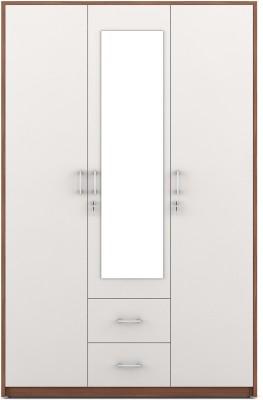 Spacewood Dew Engineered Wood 3 Door Wardrobe(Finish Color - Walnut Rigato, Mirror Included)
