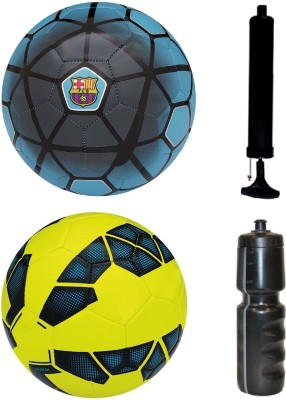 SportsCorner Combo of FCB Blue + Premier League Yellow/Blue Football (Size-5) with Air Pump & Sipper Football Kit Flipkart