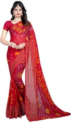 Fab Silk Printed Bandhani Chiffon Saree(Maroon) Flipkart