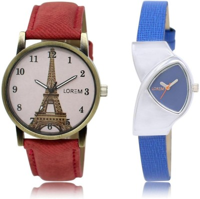LOREM LR208 230 Stylish Blue   Pink Triangle   Round Girl's Leather Analog Watch   For Women LOREM Wrist Watches