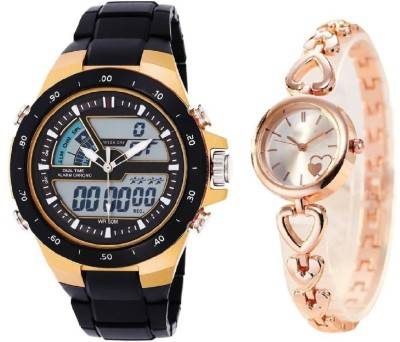7b7a0f294 10% OFF on COSMIC X-1110 Multi-function Dual Time Watch With designer dual  hearts dial and strap fancy and stylish women Watch - For Boys & Girls on  ...