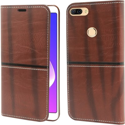 Jkobi Flip Cover for Infinix Hot 6 Pro(Brown, Dual Protection, Artificial Leather)