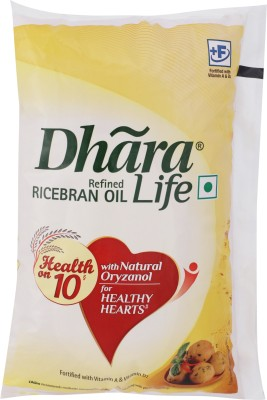 Dhara Refined Rice Bran Oil Pouch(1 L)