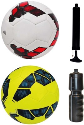 SportsCorner Combo of League Red/Purple/White + League Yellow/Blue Football (Size-5) with Air Pump & Sipper Football Kit Flipkart