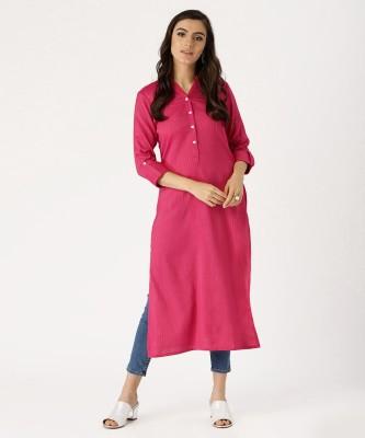Libas Women Striped, Solid Straight Kurta(Pink)