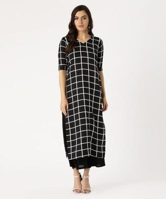 Anouk Women Checkered Straight Kurta(Green)