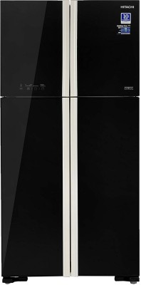 Hitachi 563 L Frost Free Double Door Refrigerator(Glass Black, R-W610PND4 GBK) at flipkart