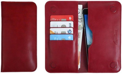 Emartbuy Wallet Case Cover for Panasonic Eluga Icon 2(Dark Red, Dual Protection, Artificial Leather)