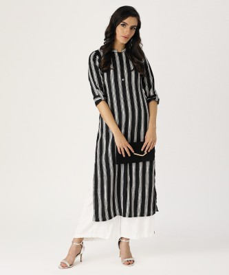 Libas Women Striped Straight Kurta(Black, White)