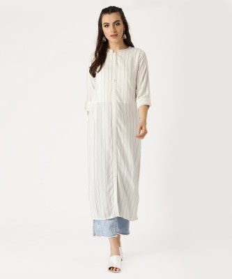 Libas Women Striped Straight Kurta(White)