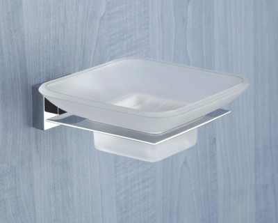 SALVOR DARIOUS BRASS GLASS SOAP DISH - GLASS SOAP STAND(Silver)