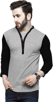 Tripr Solid Men Henley Multicolor T-Shirt