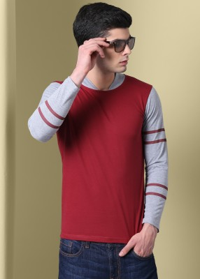 GHPC Solid Men Mandarin Collar Maroon T-Shirt