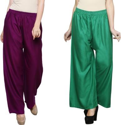 Eldino Regular Fit Women Purple, Green Trousers