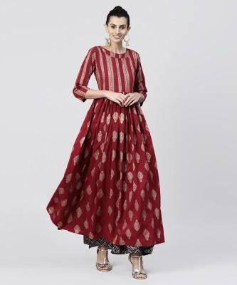 Nayo Women Printed, Striped Anarkali Kurta(Multicolor)