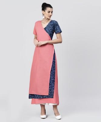 Nayo Women Solid, Self Design A-line Kurta(Pink, Blue)