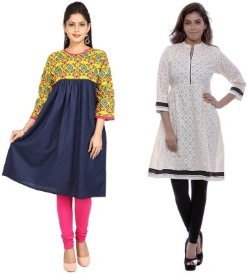 Stylum Festive & Party Printed Women Kurti(Pack of 2, Multicolor)