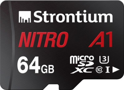 Strontium Nitro A1 64  GB SDXC UHS Class 1 100 Mbps Memory Card With Adapter Strontium Memory Cards