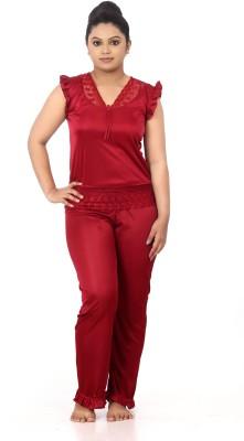 Fashigo Women Solid Purple Top & Pyjama Set
