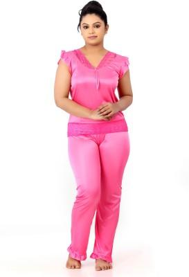 Fabme Women Solid Pink Top & Pyjama Set