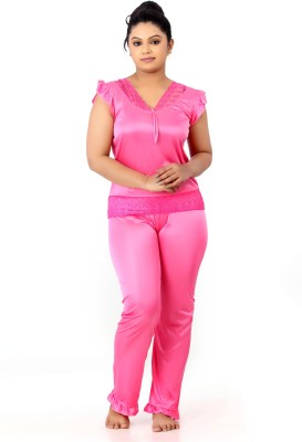 Fabme Women Solid Pink Top & Pyjama Set