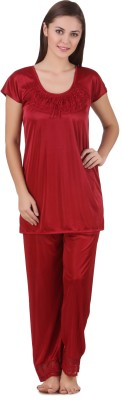 Ansh Fashion Wear Women Solid Red Top & Pyjama Set