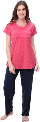 PATRORNA Women Self Design Dark Blue Top & Pyjama Set