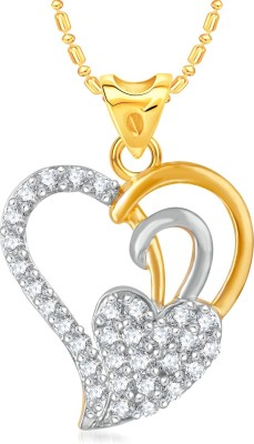 VK Jewels Dual Heart Stone Studded Gold-plated Cubic Zirconia Alloy, Brass Pendant