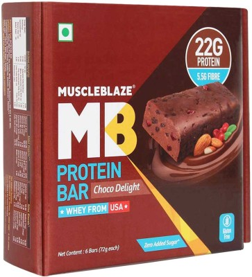 MuscleBlaze Protein Bar with 22g Protein & Zero Added Sugar Protein Bars(72 g, Choco Delight)