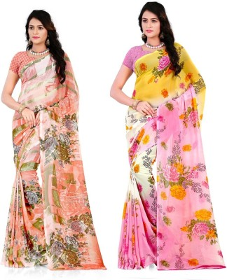Anand Sarees Floral Print Fashion Georgette Saree(Pack of 2, Multicolor)