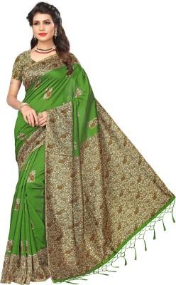 Ratnavati Printed, Striped, Striped Kalamkari Art Silk Saree(Green)
