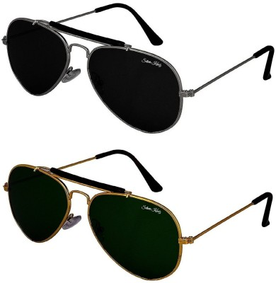 Silver Kartz Aviator Sunglasses(Black, Green)